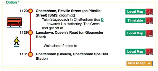 Traveline's recommendation to get to the train station.
