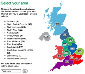 The Traveline map of the UK