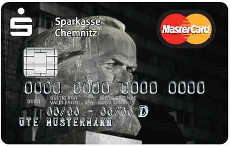 Sparkasse Chemintz Mastercard with Karl Marx