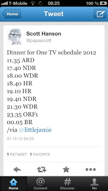 Dinner for One, NY 2012 Schedule