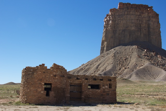 This was the visitor center to the Ute Mountain Tribal Park, but it is closed today. Behind is Chimney Rock!