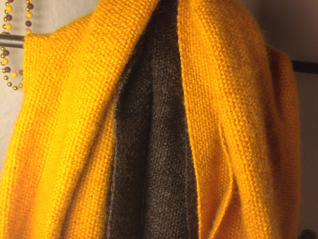 My custom made scarves -- the gold is alpaca, the brown is organic Shetland wool.