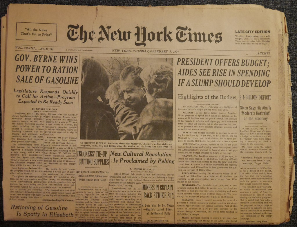 Cover of The New York Times, February 5, 1974. Late City Edition. 15 Cents.