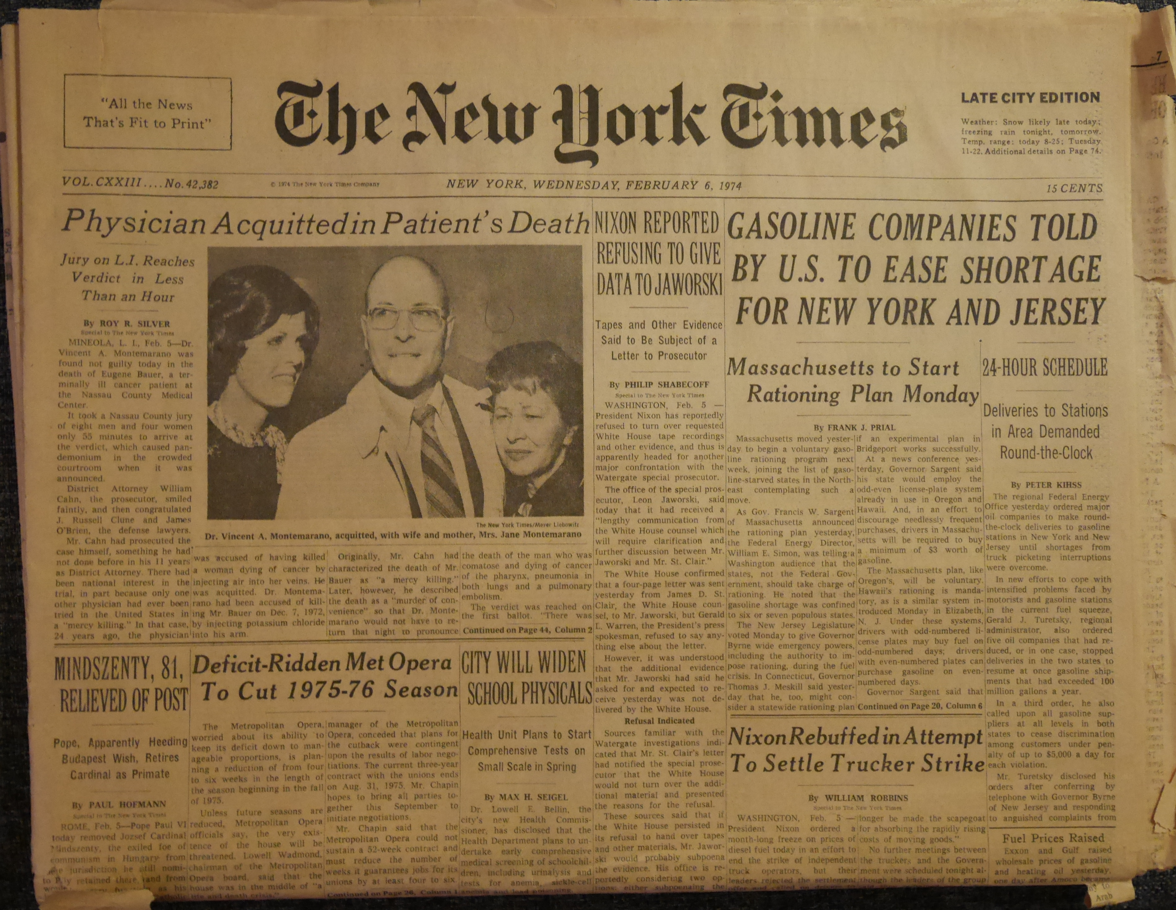 NYT headlines from February 6, 1974 « TQE   That Queer ...