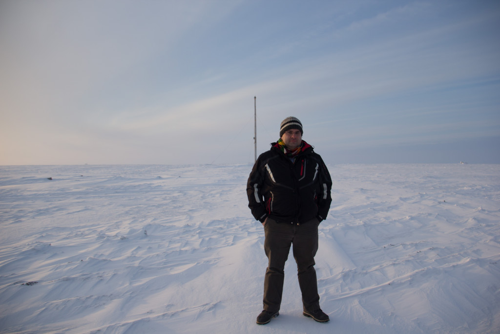 I'm at Point Barrow, Alaska, here.  This is the northernmost point of the United States; although in winter, if you're not an expert, it can be hard to tell the snow and ice covered land from the snow and ice covered Arctic Ocean.