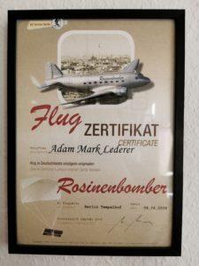 Flight Certificate for Rosinenbomber trip