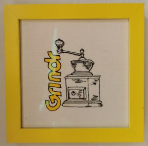 Grindr -- represented by the Grindr logo and a coffee grinder.