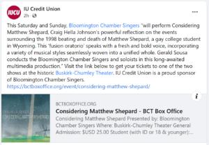 Considering Matthew Shepard Facebook Post announcing concert in Bloomington, Indiana.